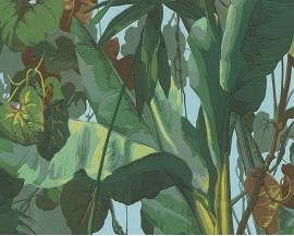 Tapeta winylowa na podłożu papierowymniemieckiej firmy A.S. Creation z kolekcji Dekora Natur. Tapeta w fantazyjne, zielone liście palmy.