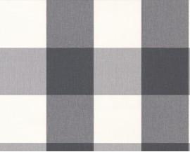 Tapeta na flizelinie niemieckiej firmy A.S. Creation z kolekcji Elegance 2. Ten wzór to regularna, klasyczna, duża kratka w odcieniach bieli i szarości.