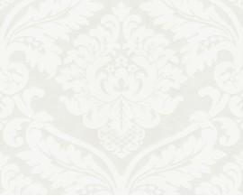 Tapeta na flizelinie niemieckiej firmy A.S. Creation z kolekcji Flock. Ten wzór toklasyczny,biały, arabeskowy ornament.