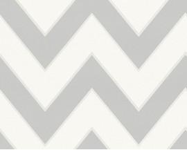 Tapeta na flizelinie niemieckiej firmy A.S. Creation z kolekcji Metropolis by MICHALSKY LIVING. Ten wzór nowoczesne, szaro-białe graficzne zigzaki.