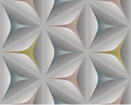 Tapeta na flizelinie niemieckiej firmy A.S. Creation z kolekcji Move Your Wall. Wzór tograficzne, rozetowe wzoryz niesamowitym efektem3D wkolorach szarości, turkusu, delikantego żółtego oraz różówego.