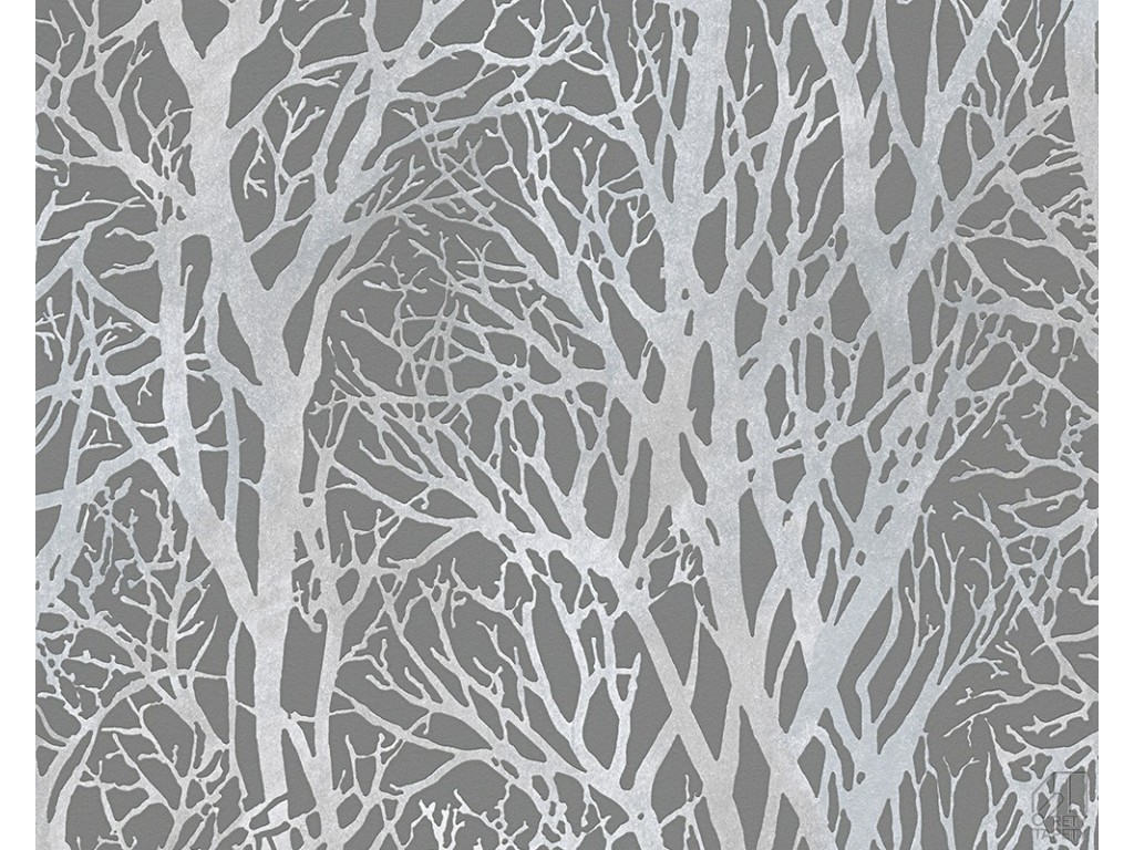 Tapeta 3009 43 srebrne ga zie drzew o rety tapety for Gray and white wallpaper designs