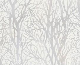 Tapeta na flizelinie niemieckiej firmy A.S. Creation z kolekcji Life 3. Ten wzór to białe, mieniące się gałęzie drzew na białym tle w stylu skandynawskim.