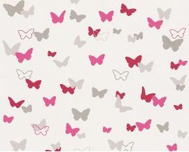 Tapeta na flizelinie niemieckiej firmy A.S. Creation z dziecięcej kolekcji Esprit Kids.Wzór todelikatne rożowe motylki na białym tle.
