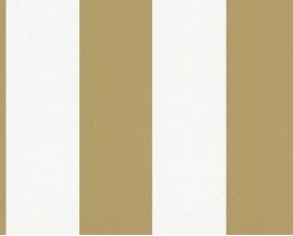 Tapeta 9648-16 Biało Złote Pasy
