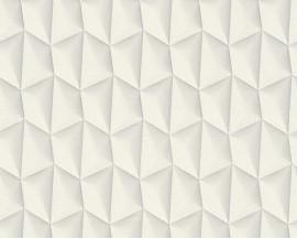 Tapeta na flizelinie niemieckiej firmy A.S. Creation z kolekcji Mac Stopa. Wzór tobardzo graficzne, mocne wzory z efektem 3D wbieli przełamanej szarością.