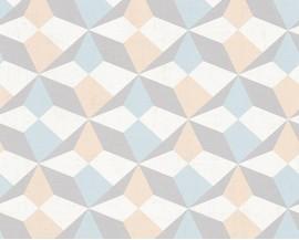 Tapeta papierowana flizelinie niemieckiej firmy AS Creation z kolekcji Scandinavian Style. Ten wzór to delikatne graficzne wzory w kolorach szarości, błękitu i jasnego beżu.