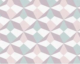 Tapeta papierowana flizelinie niemieckiej firmy AS Creation z kolekcji Scandinavian Style. Ten wzór to delikatne graficzne wzory w kolorach szarości,zieleni i różu.
