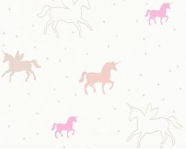 Tapeta na flizelinie niemieckiej firmy A.S. Creation z dziecięcej kolekcji Esprit Kids 3.Wzór todelikatne pastelowe jednorożce na białym tle.