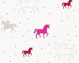 Tapeta na flizelinie niemieckiej firmy A.S. Creation z dziecięcej kolekcji Esprit Kids 5. Wzór todelikatne różowe jednorożce na białym tle.
