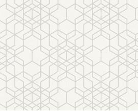Tapeta na flizelinie niemieckiej firmy A.S. Creation z kolekcji Bjorn. Ten wzór todelikatne graficzne kostki przypominające pajęczynę w kolorześmietankowej bieli.