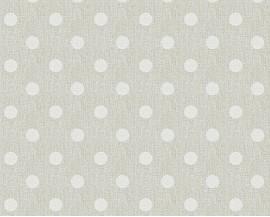 Tapeta na flizelinie niemieckiej firmy A.S. Creation z kolekcji Elegance 5. Ten wzór tofikuśne białe kropki/groszki nabeżowym tle z widoczną strukturą materiału.