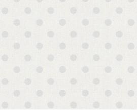 Tapeta na flizelinie niemieckiej firmy A.S. Creation z kolekcji Elegance 5. Ten wzór tofikuśne szare kropki/groszki najaśniejszym szarymtle z widoczną strukturą materiału.