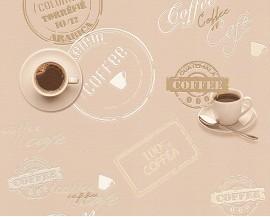 Tapeta winylowa na podłożu papierowymniemieckiej firmy A.S. Creation z kolekcji Cocktail 2. Ta tapeta totypowo kuchenny wzór w filiżanki i napisy Coffee.